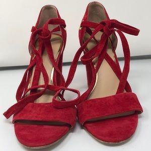 Diane Von Furstenberg Red Suade Shoes